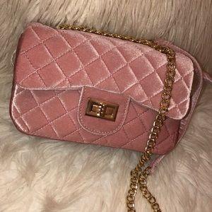 Pink Quilted Crossbody Shoulder Bag Velvet